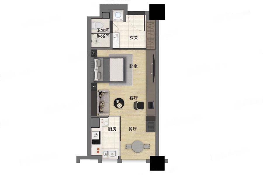 江畔国际  1室1厅1厨1卫